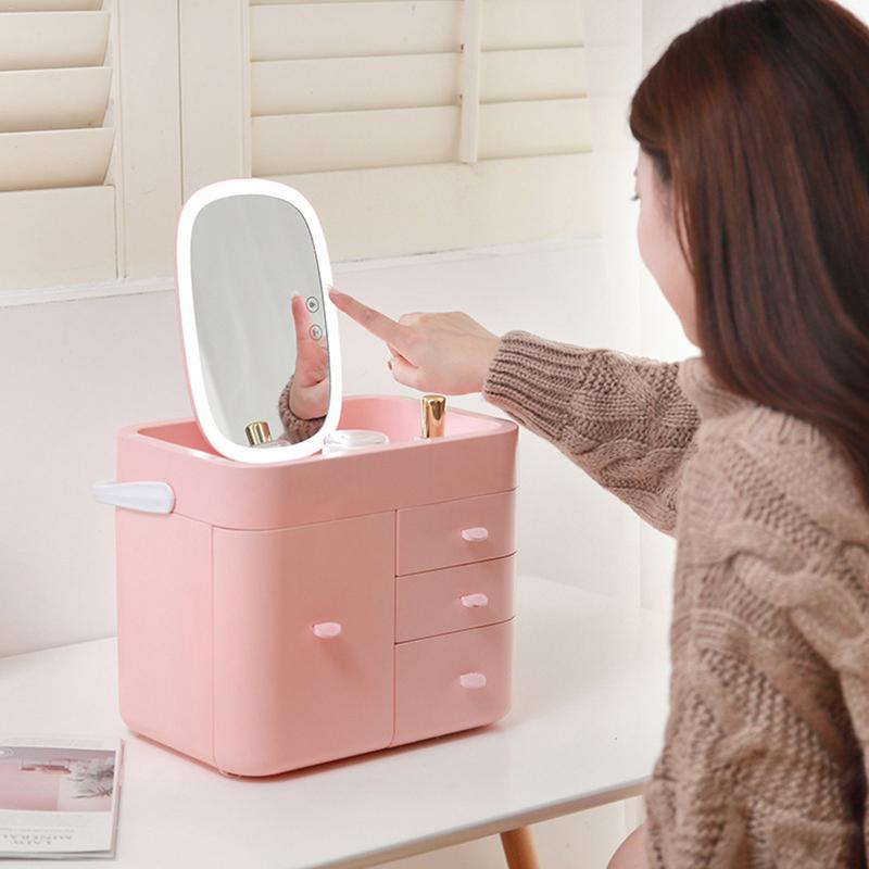 LED Fill Light Cosmetic Storage Box With Multi-Drawer 10x Magnifying Glass Multi-Function Dressing Table Skin Care Rack