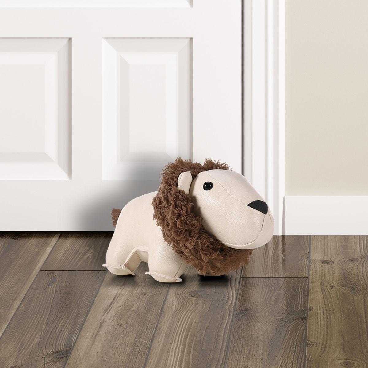 Tooarts Leather Lion Door Stopper Animal Toys Door Stop