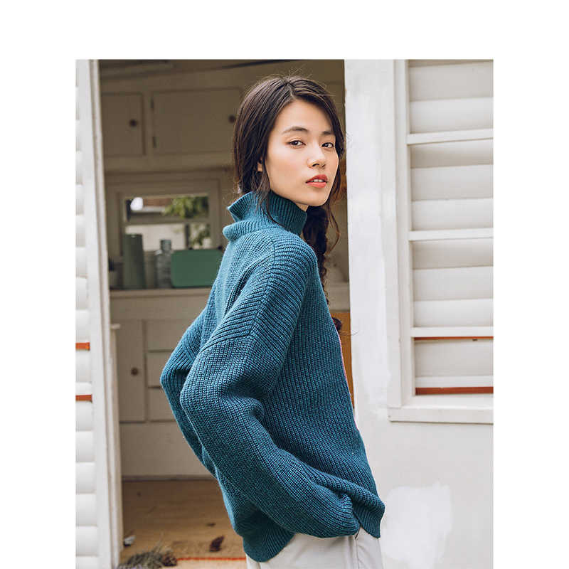INMAN Winter High Neck Collar Keep Warm Korean Fashion Style All Matched Women Casual Pullover Sweater