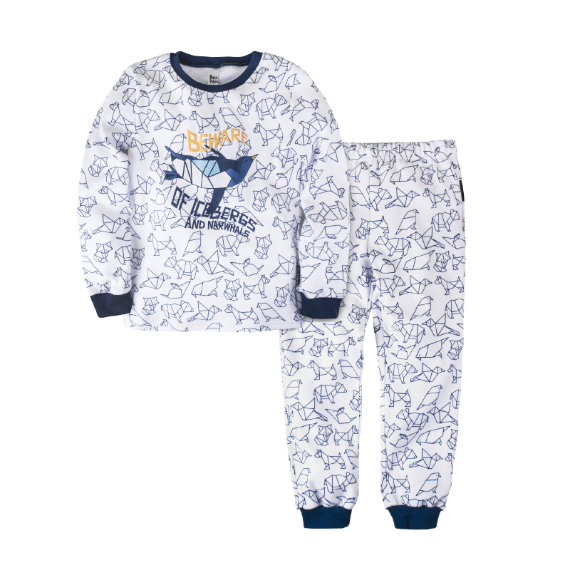 Pajama set shirt+pants for boys BOSSA NOVA 356o-371 letter print cami and ruffle shorts pajama set