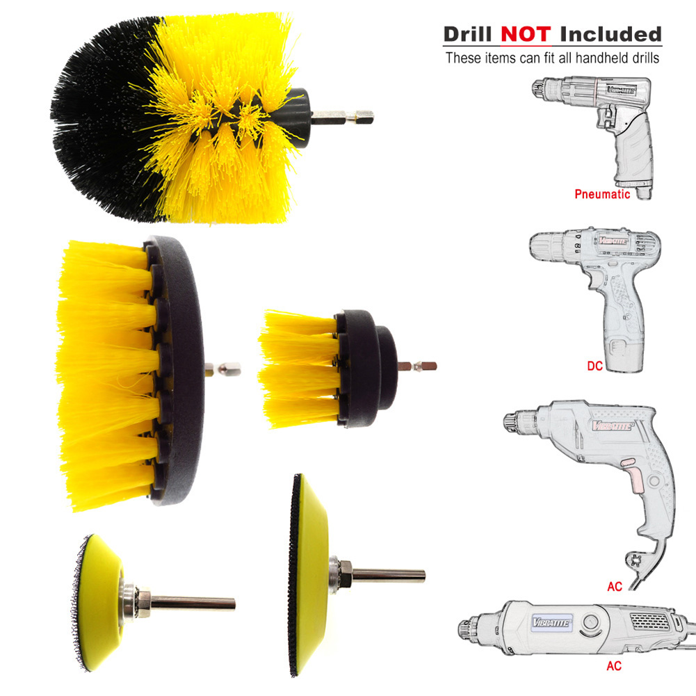 Image 3 - 5 Pcs Car Detail Nylon Brush Set For Car wheel/Engine/home/bath/floor tile Auto Detail Brushes Kit with 2 electric Grinding Disc-in Sponges, Cloths & Brushes from Automobiles & Motorcycles