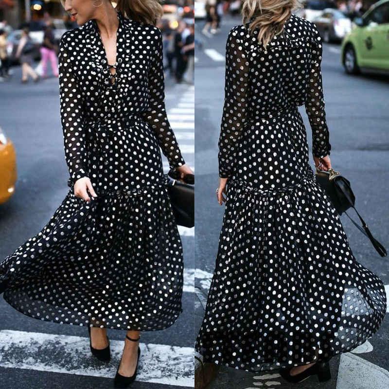 Горячие женские модные длинные платья в горошек с принтом BOHO v образным вырезом