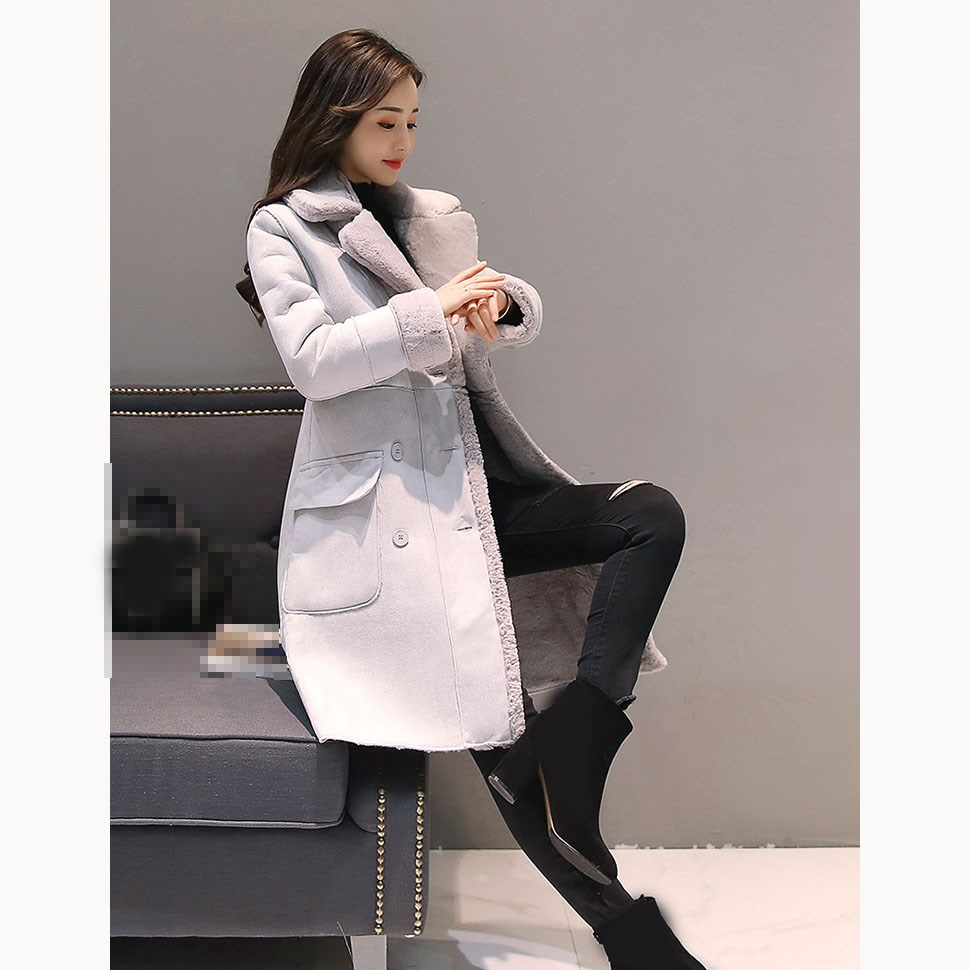 2019 Autumn Winter Women Faux   Suede   Coats Long Sleeve Warm Long   Leather   Jackets Female Lambs Thick Coats