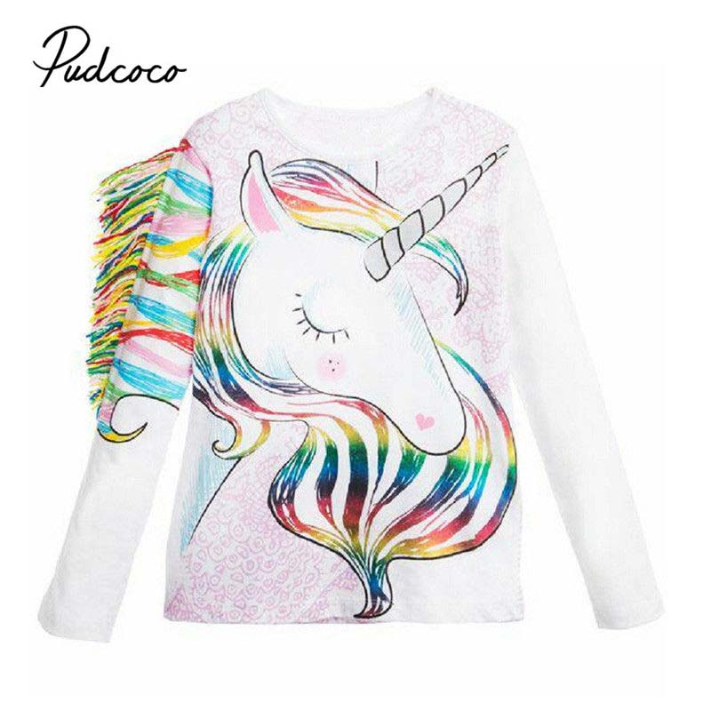 Unicorn T-Shirt Tops Tassels Long-Sleeve Toddler Girls Cotton Cartoon New-Arrival Kid title=