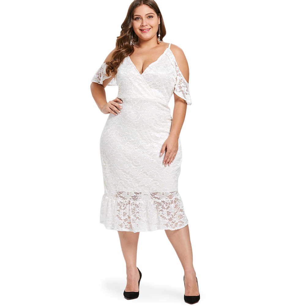 Wipalo Plus Size Open Shoulder Ruffle Hem Women Lace Dress Spaghetti Strap  Short Sleeve V- 8bf580ccfd13