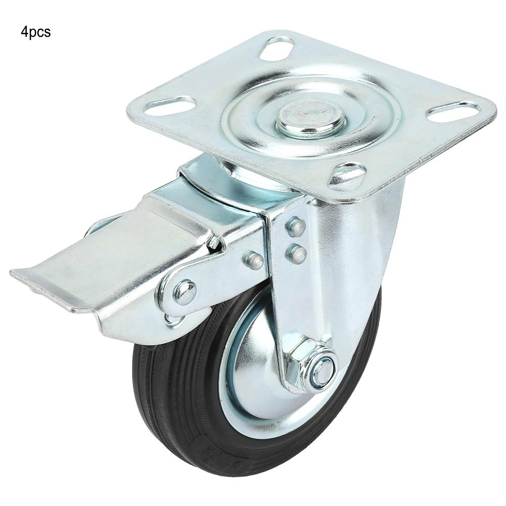 4pcs Metal Core Swivel Casters Wheel Light duty Trolley Casters Furniture Rubber Casters Good Quality