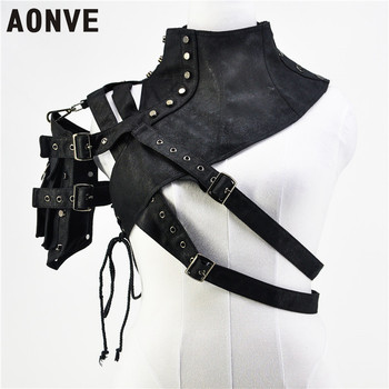 abe9ecc24 Aonve Gothic Steampunk Corset Pescoço Acessórios de Couro Falso Ombro  Bainha Preta Korse Plus Size Do Punk Delírio