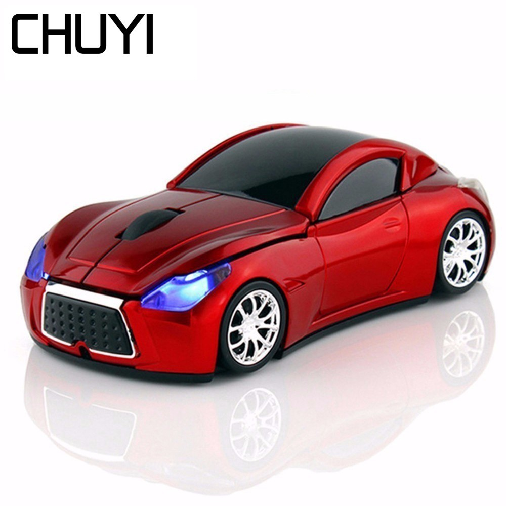 CHUYI 2.4GHz Wireless <font><b>Car</b></font> Mouse 1600DPI Optical Computer Mause Cool 3D Mini Mice With USB Receiver For Gamer PC Laptop Desktop image
