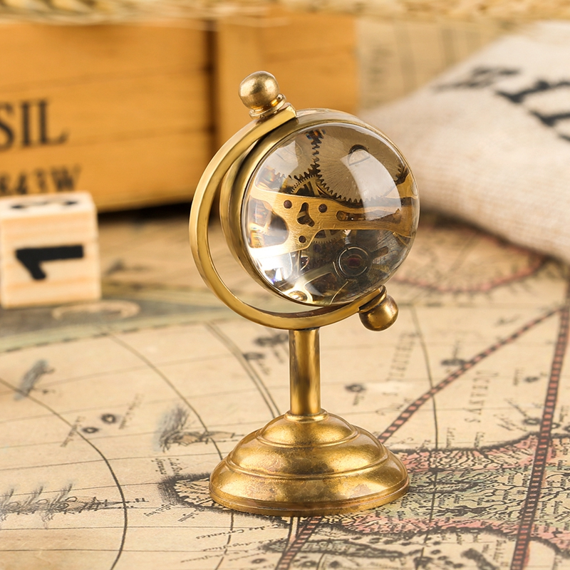 Novel Spinning Globe Gold Desk Clock For Unisex Desktop Clock Home Decoration Copper Table Hand-winding Movement For Friends Watches