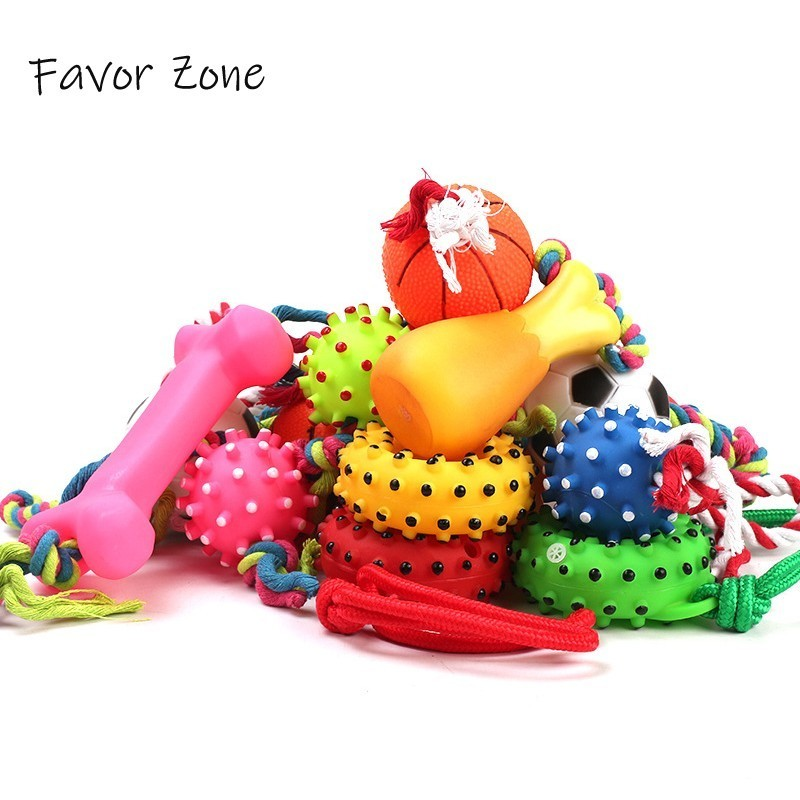Rubber Chew Squeak Sound Dog Toy Basketball Football Bones Donut Pet Toys Tooth Grinding Training Puppy Kitten Small Dog Product
