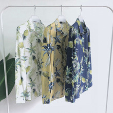 Spring New Flower Shirt Men Fashion Hawaiian Man Breathable Casual Streetwear Trend Wild Loose Long-sleeved