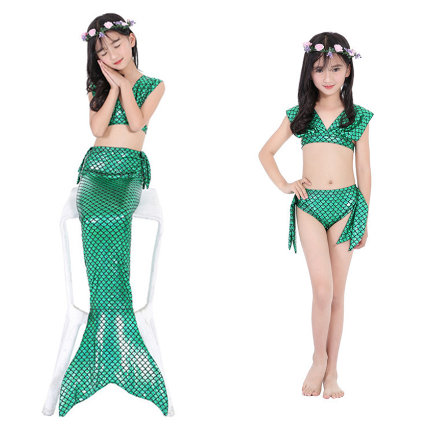 Girls Fancy Mermaid Tail Sequin Costumes The Littel Mermaid Ariel Swimsuit Halloween Cosplay Bikini Swimmable Suits for Girl