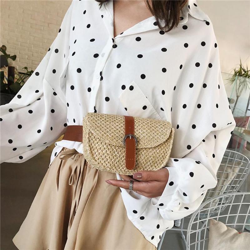 Women Casual Straw Waist Chest Bag Small Holiday Beach Shoulder Messenger Bags Single Shoulder Crossbody Bag Fashion Waist Bag