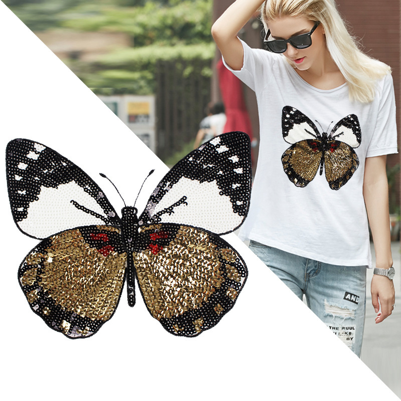 XL Sequin Skull Butterfly Holographic Embroidered Jacket Patch Applique Designer