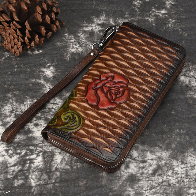 Women Genuine Leather Purse Money Handy Bag ID Card Holder Coin Embossed Vintage Clutch Wrist Bags Natural Skin Long Wallet New