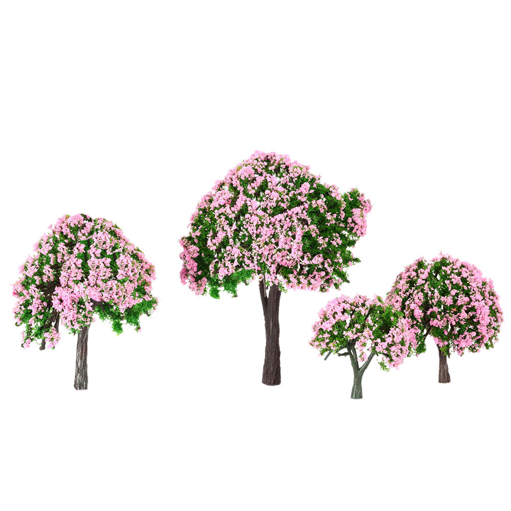 4 Pieces Ball-shaped Flower Model Trees Mixed Tree Train Layout Garden Scenery White And Pink Flower Trees Diorama Mini Pink