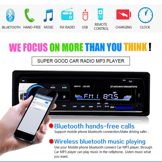 Hikity Bluetooth Autoradio 12V Car Stereo Radio FM Aux-IN Input Receiver SD USB JSD-520 In-dash 1 din Car MP3 Multimedia Player 1