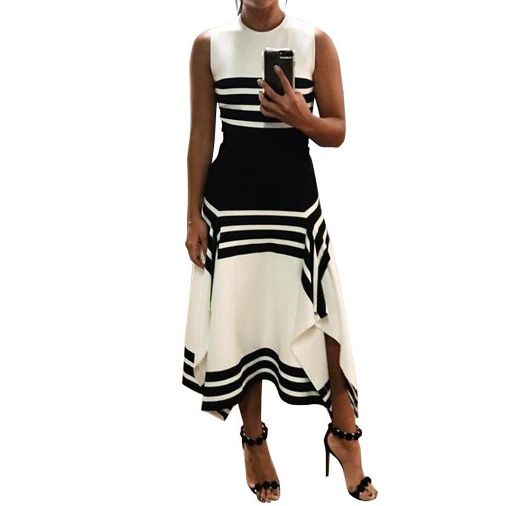 MISSKY New Summer Ladies Women Dress Sleeveless Round Collar Stripe Black White Stitching Casual Dress