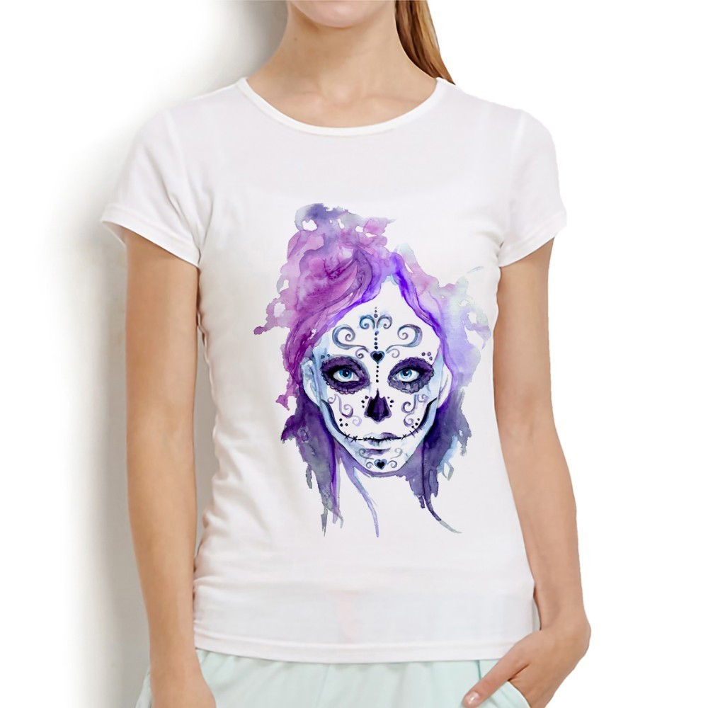 Mexico Death Day Sugar Skull Tshirt Women 2019 Summer New White Casual Short Sleeve T Shirt Dia De Los Muertos T-shirts