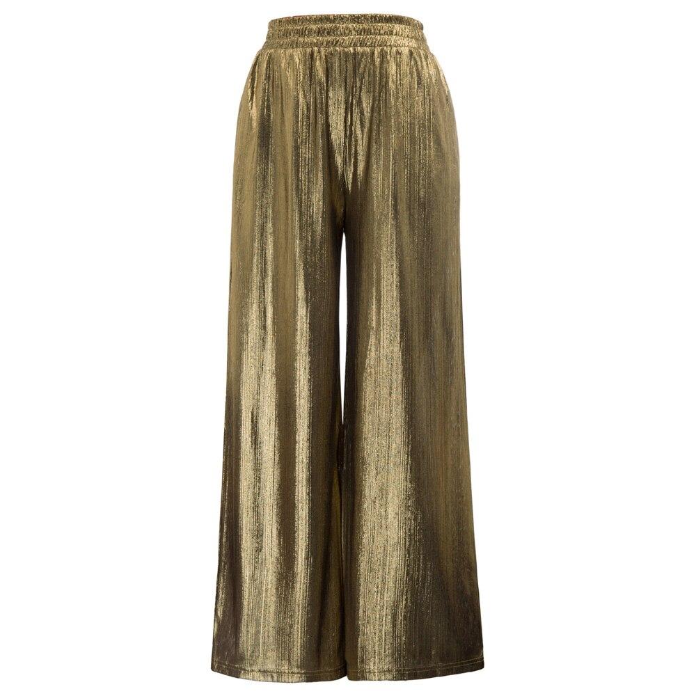 Ladies Leisure Solid Color Elastic Waist   Wide     Leg     Pants   Flared Trousers Luxury