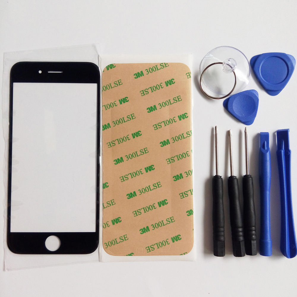 Outer Glass Replacement Parts For IPhone 4 4s 5 5G 5S 5SE 6 6s Plus LCD Touch Screen Front Glass Outer Lens & Tools & Sticker