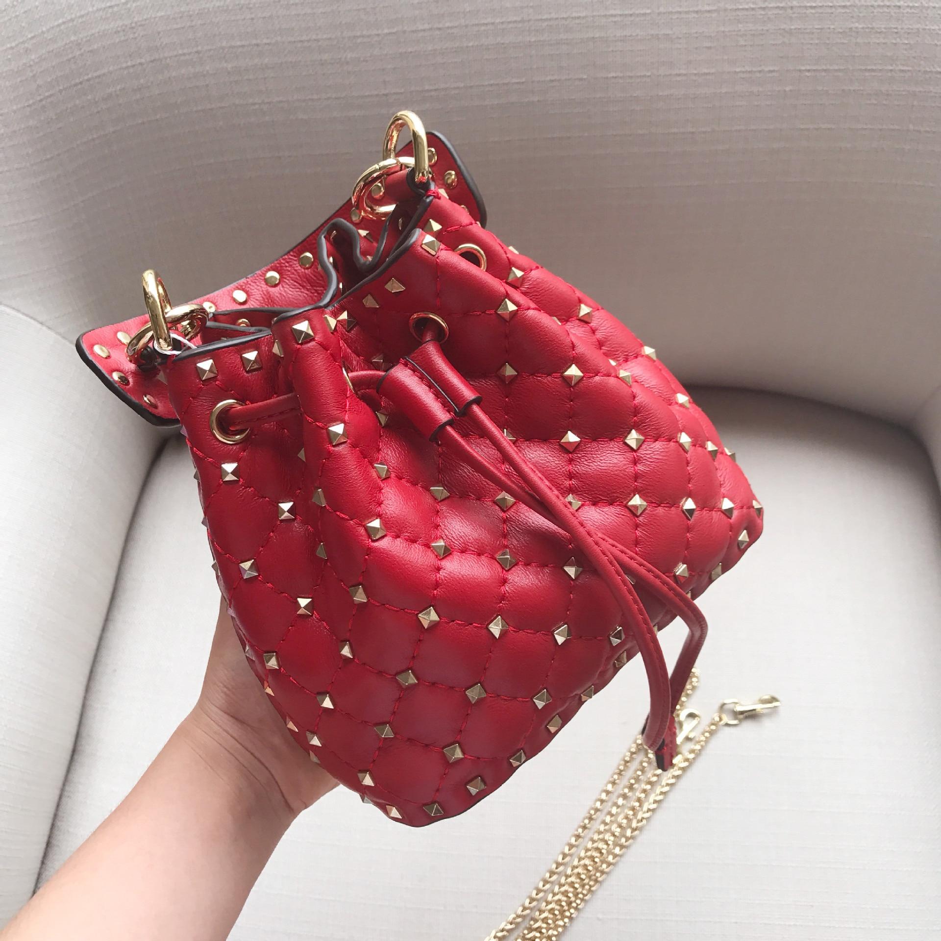 2019 NEW Custom Clutch Women BUCKET Real Leather Cowhide Brand Handbags  Ring High-end Small ba10d738973ea