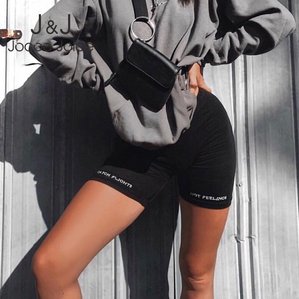 Letter Print Biker   Shorts   High Waist Women   Short   Pants Fitness Active Wear Athleisure Cycling   Shorts   Femme 2019 Fashion