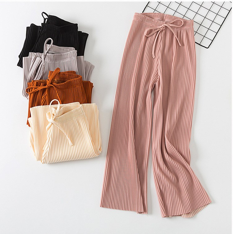 2019 Casual Women Pleated Strained   Wide     Leg     Pants   Summer High Waist Long   Pants   Solid Straight Loose   Pants