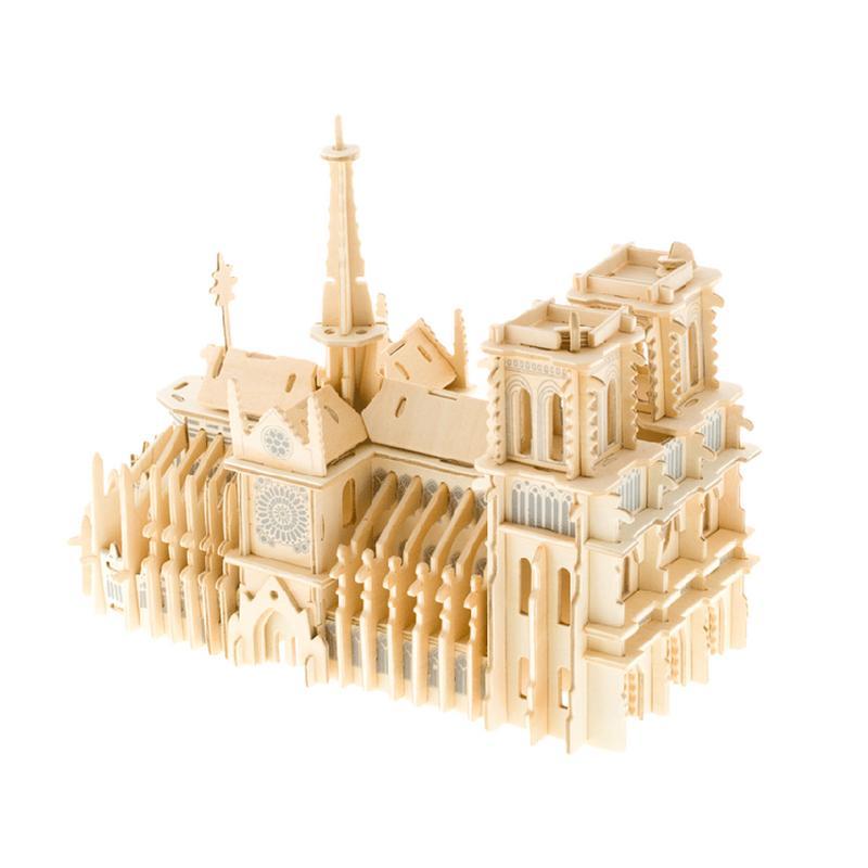 Notre Dame De Paris Children's Puzzle Wooden Assembled DIY Simulation Model Adult 3D Stereo Large Puzzle Assembly Toys