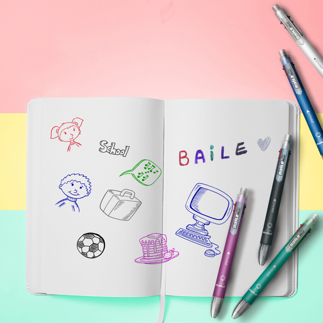 6 In 1 Ballpoint Pens 5 Colors Ball Pen 1 Automatic Pencil Multicolor With Eraser Ball Pen For School Office Supplies Stationery 3