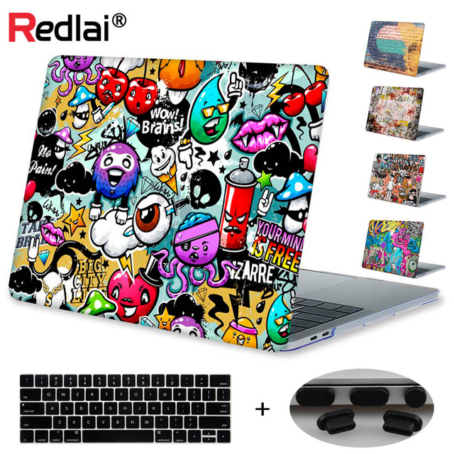 Redlai Graffiti Wall Print Hard Case For Macbook Pro 13 15 2017 Touchbar Laptop Case Air Pro Retina 11 13 15 with Keyboard Cover