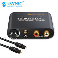 eSYNiC DAC Digital-to-analog Audio Converter Optical Toslink Fiber SPDIF Coaxial to RCA 3.5mm Jack Adapter For DVD Amplifier