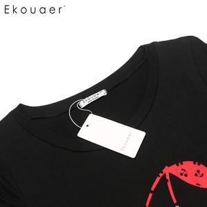 Image 5 - Ekouaer 女性ナイトウェアパジャマセット O ネック半袖プリントトップハーフパンツ夏パジャマスーツ女性ホームウェアの服