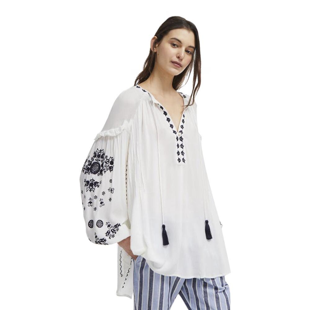 MINSUNDA белая длинная блузка с вышитыми цветами, повседневная женская рубашка с v образным вырезом и рукавом фонариком, богемные женские топы и блузки для выходных