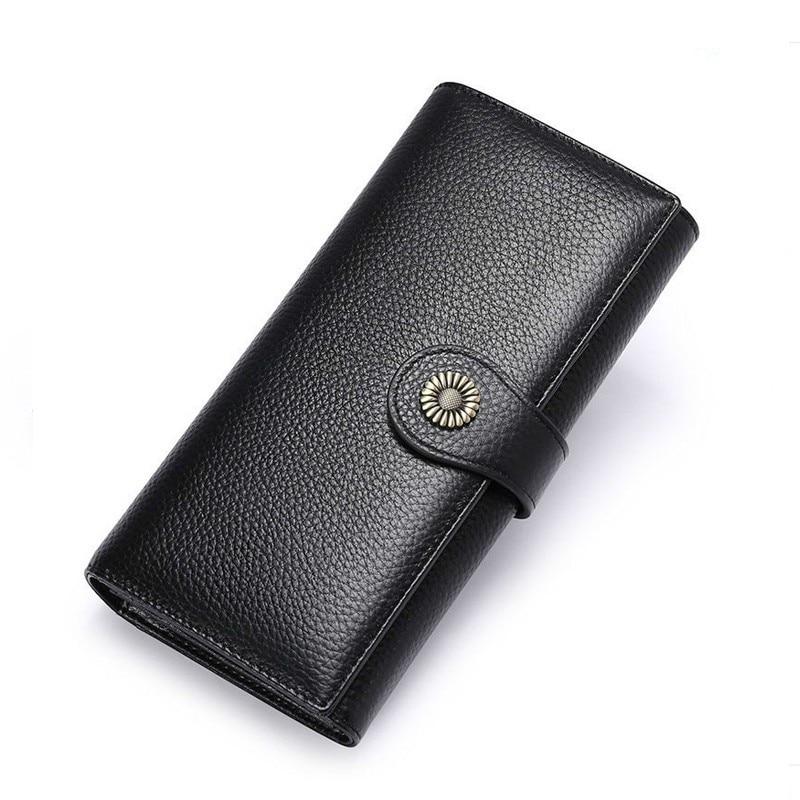 Fashion Genuine Leather Wallet Women Wallets Long Clutch Bag Money Pocket Coin Purse Zipper Large Capacity Card Holder Phone Bag