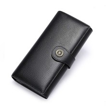 Купить с кэшбэком Fashion Genuine Leather Wallet Women Wallets Long Clutch Bag Money Pocket Coin Purse Zipper Large Capacity Card Holder Phone Bag