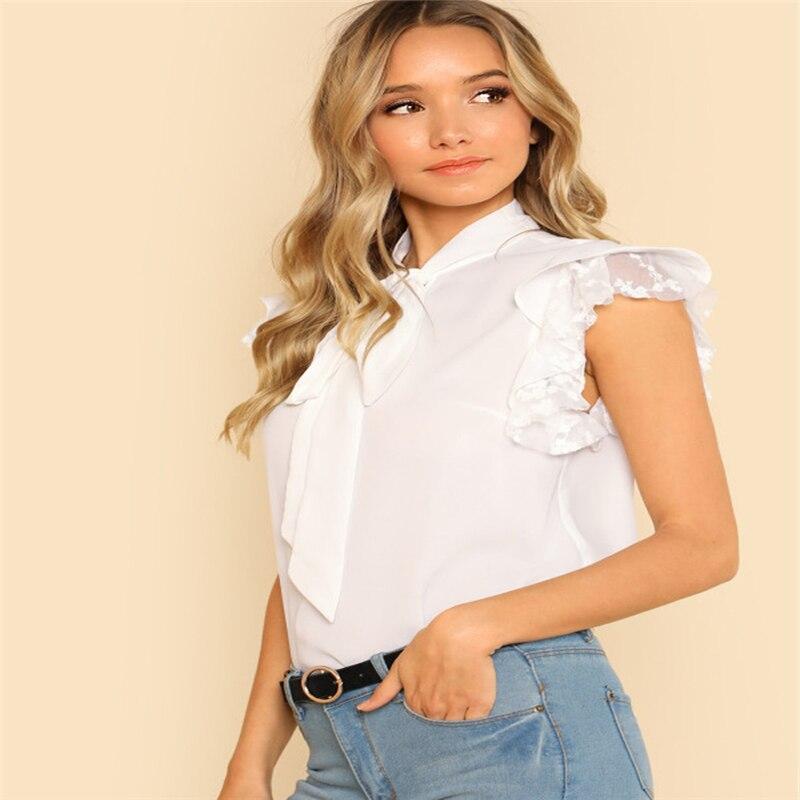 Womens Tie Neck Lace Embroidered Ruffle Chiffon   Shirt Blous Tops women tie neck sleeveless white lace shirt blouse top women rotita blusas
