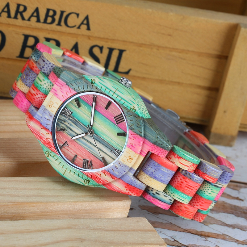 Top Luxury Colorful Wood Watch Womens Quartz Full Bamboo Wooden Clock Female Fashion Candy Color Bracelet Hour Lady Wrist WatchWomens Watches   -