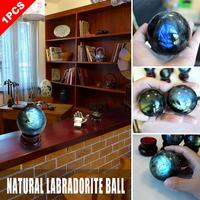 Crystal Ball Decoration Natural Labradorite Stone Ball Gray Moonstone Blues Gemstone Orb Gem Crafts Home Decoration