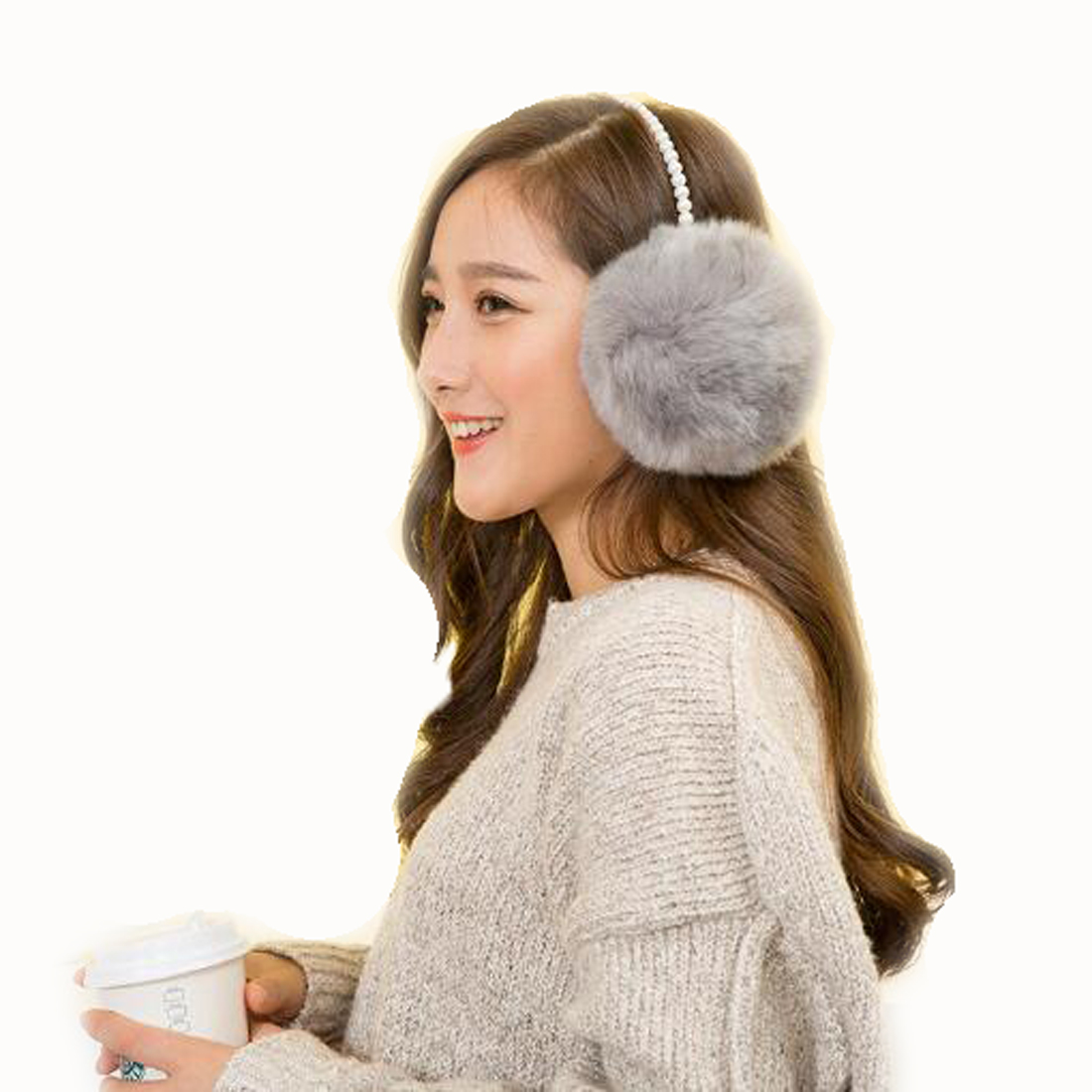 2018 Winter Pearl Imitation Rabbit Fur Women Earmuffs Ear Warmer Soft Lady Keep Warm White Coffee Beautiful Big Plush Ear Cover