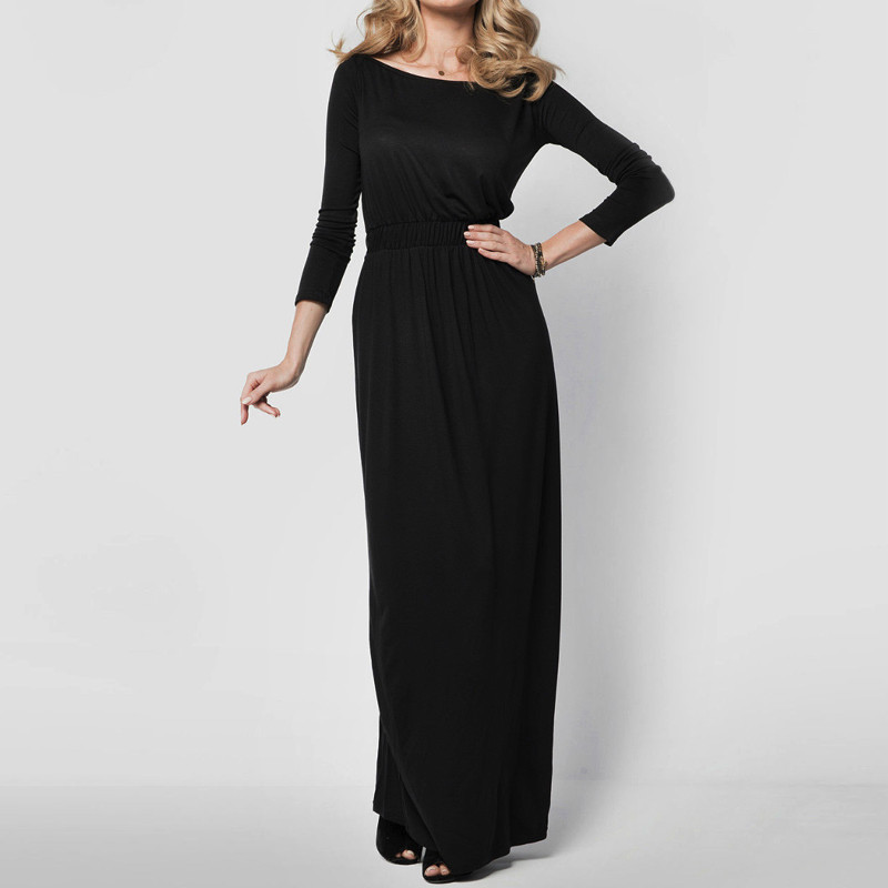 Women Elegant Party Retro Dress Spring Autumn Long Sleeve Solid Color Slash Neck High Waist Gown Maxi Long Dresses Vestidos 2018