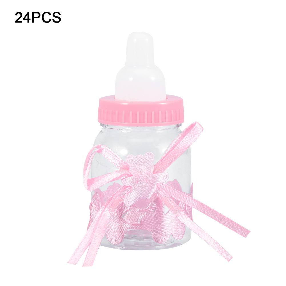 12Pcs Baby Acrylic Bottle Clear Pink Bottles For Baby Shower Craft Party Decor