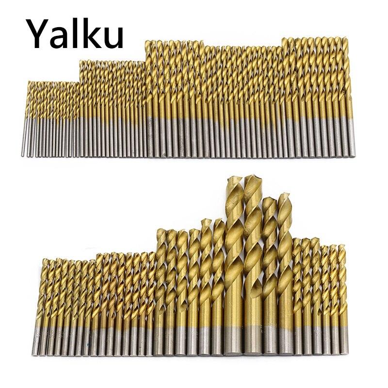 Yalku 50/99Pcs HSS High Speed Steel Drill Bits Set Titanium Coated Drill Bits Tool High Quality Power Tools Kit Drill Bit Set