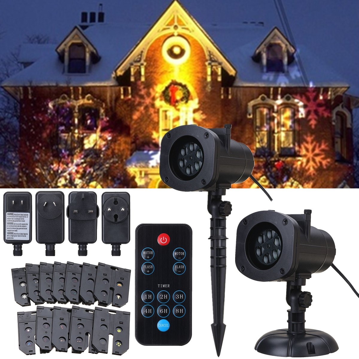 Christmas Projection Light+12 Pattern Cards+Remote Control EU/US/UK/AU Plug 6 Color LED Lights Waterproof Flash Stage Lighting free shipping us plug outdoor ip65 waterproof stage light christmas lights xmas light projector christmas uk us eu plug xx