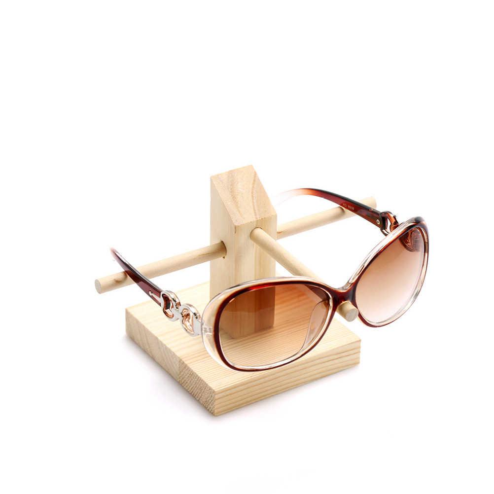 Drewniane pojedyncze warstwy okulary wyświetlacz okulary organizator okulary stojak uchwyt Rack