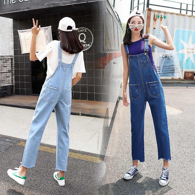f1b53654b94b Denim Jumpsuits Women Retro Loose Student Korean Style Strap Denim Jumpsuit  Womens Fashion Solid All-
