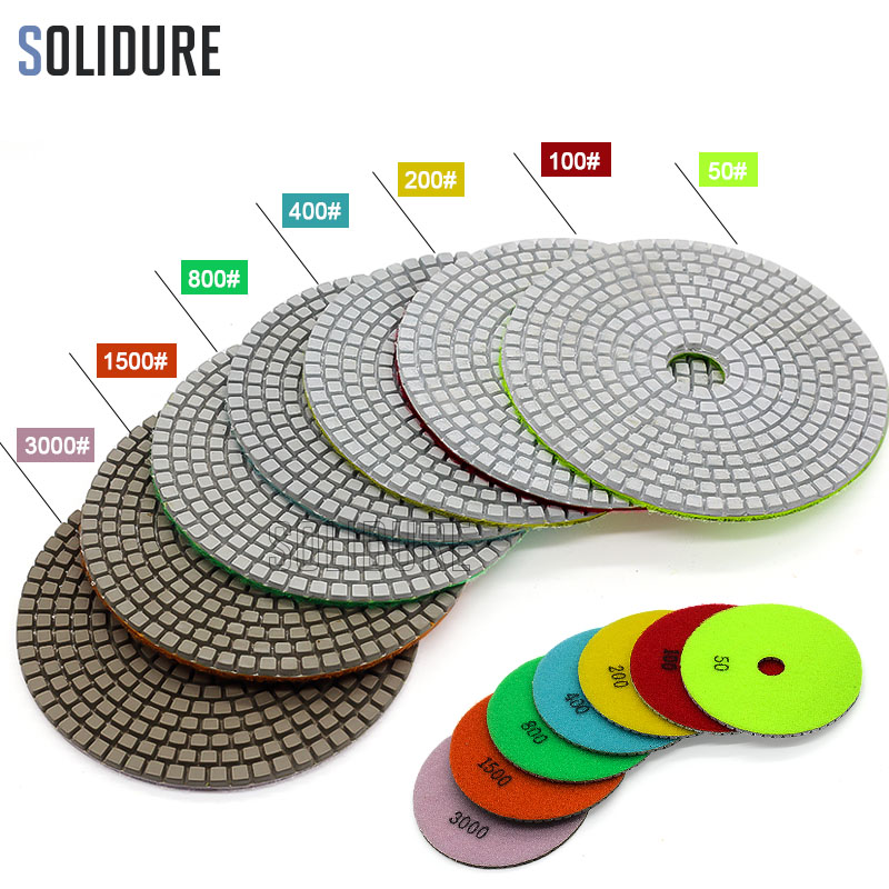 1pc/lot Order By Grit 125mm Wet Polish Pad With 3.0mm Working Thickness For Marble Polishing Wet Concrete Granite Sanding Disc