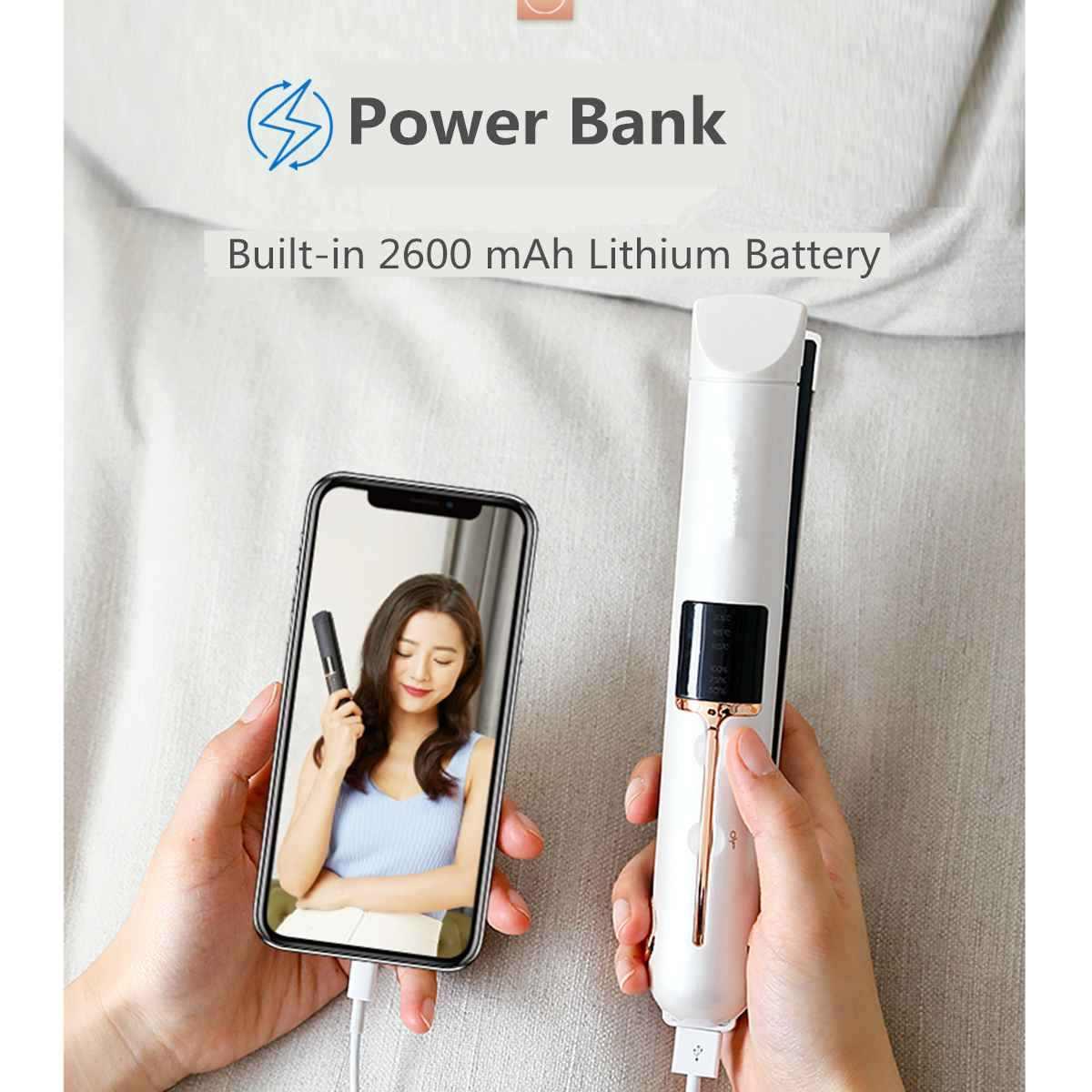 3-в-1 Беспроводная Выпрямитель для волос USB для подзарядки бигуди Быстрый нагрев 3D доску светодио дный Дисплей волос Flat Iron Мощность банк