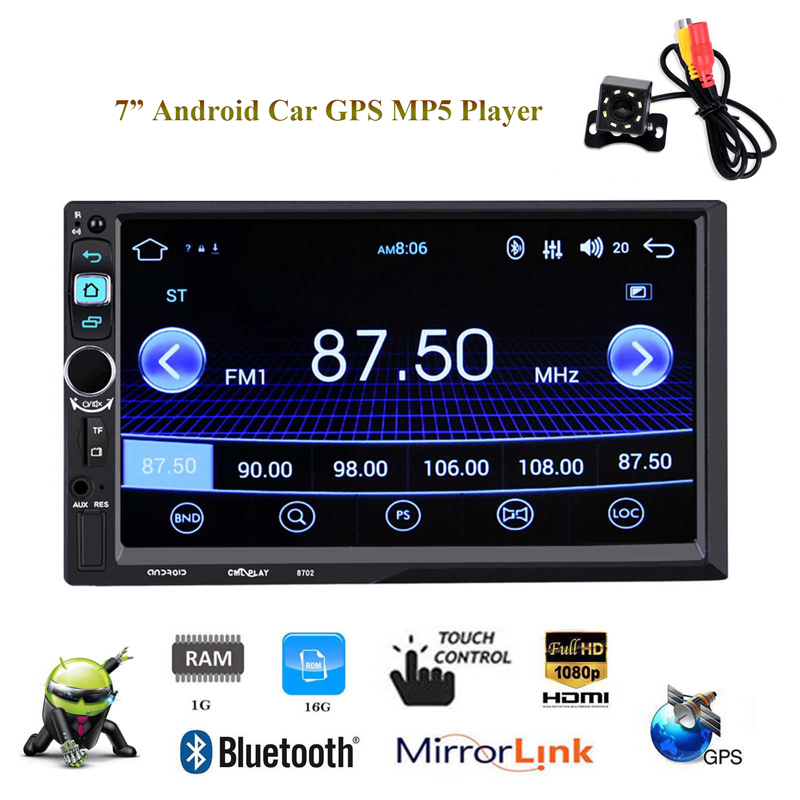 2 Din 7 Car Stereo Radio Android 6.0 MP5 Player Quad Core 1+16G Autoradio Bluetooth GPS Navigation WiFi Rear Camera Mirror Link 7 touch screen 2 din quad core car radio android 7 1 wifi bluetooth auto mp5 player gps navigator autoradio with reverse camera