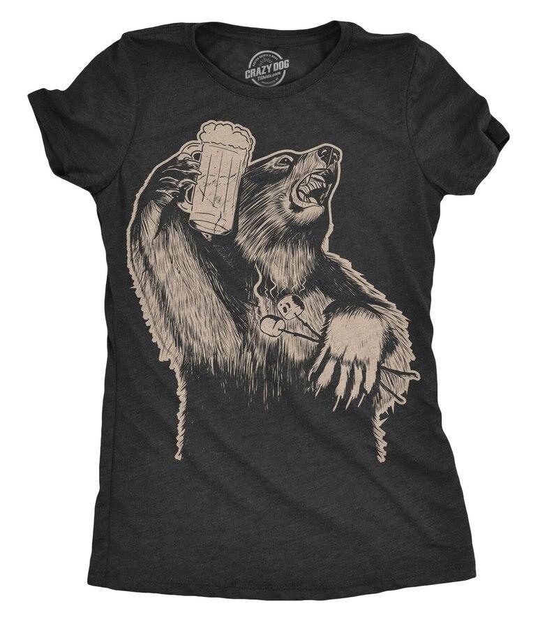 Kamp Ayı Gömlek Kamp Tatil Gömlek Kadın Grizzly Bira Tee Par